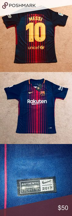 Messi #10 Barcelona soccer jersey Brand new with tags, medium size , la liga 17/18 , Barcelona Soccer Jersey . Messi #10 Nike Shirts Tees - Short Sleeve