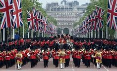 Soldiers of the Household Division at the trooping the colour ceremony during three days of celebrations, which ended on Sunday, to mark the Queen's official 90th birthday