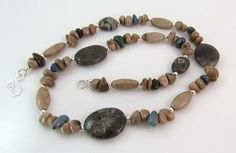 #Michigan Leland bluestone Petoskey stone and sterling silver #necklace by rwilberg