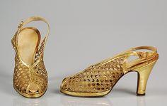 Evening shoesGold leather J&J Slater, 1938-1943.