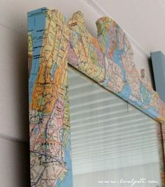 Map Mirror. Excellent tutorial using good old fashioned Mod Podge, to create this. These steps can be applies to a mirror frame, or any other furniture you'd like to apply maps to! http://www.lovelyetc.com/2012/02/map-mirror.html
