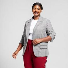 Take some cues from menswear fashion by adding the Plaid Boyfriend Blazer from A New Day™ to your closet. This one-button jacket features structured shoulder pads that add a sophisticated, bold edge to any day or night look. With the classic gray plaid pattern, you'll love making the blazer the focal point of your look — whether you're in jeans, a cami and fashion sneakers, or trousers, pointed-toe flats and a blouse, you'll look effortless-chic and feel even be...