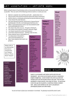 GCSE Art Analysis and Annotation guide sheets Artist Research Page, Art Analysis, Art Critique, Photography Sketchbook, Art Criticism, Gcse Art Sketchbook, Art Worksheets, Art Curriculum, Art Lesson Plans