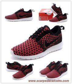 """scarpe da calcetto """"Fireberry"""" Nike Flyknit Roshe Run Nero/Bianco-Fireberry-Arancione totale 677243-004"""