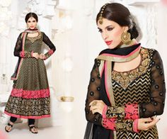 PartyWear Embroidered  Faux Georgette Black Salwar Kameez Dress Material