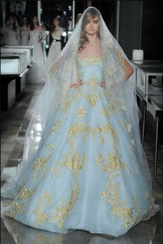 reem acra spring 2018 bridal strapless straight across full embellishment blue color princess ball gown wedding dress chapel train mv -- Reem Acra Spring 2018 Wedding Dresses Reem Acra Wedding Dress, Reem Acra Bridal, Bridal Dresses, Wedding Gowns, Most Beautiful Wedding Dresses, Wedding Dress Trends, Colored Wedding Dresses, Beautiful Gowns, Bridal Collection