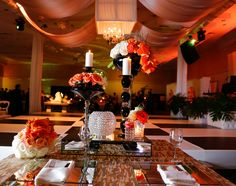 White Orange Gold And Black Art Deco Wedding Decoration Ideas