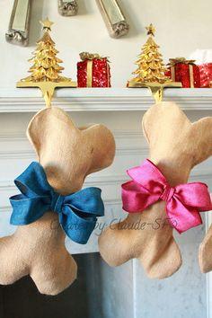 Dog Bone Christmas Stocking Unique Burlap Pet by ChristmasClaude