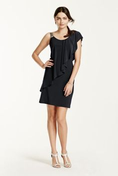 This flirty and fabulous asymmetrical jersey dress is perfect for any occasion!  Bodice features a scoop neckline and one mesh shoulder strap.  Asymmetrical draping is flattering on any figure.  Fully lined. Imported polyester blend. Hand wash cold and line dry.