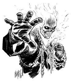 Comic Book Heroes, Comic Books Art, Comic Art, Cool Sketches, Cool Drawings, Ghost Rider Drawing, Comic Book Drawing, Ghost Rider Marvel, Manga Drawing Tutorials