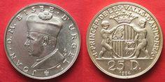 1984 Andorra ANDORRA 25 Diners 1984 JOAN BISBE D'URGELL I silver UNC RARE!!! # 93276 BU (MS65-70)