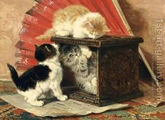 Henriëtte Ronner-Knip (Holanda/Alemania, 1821-1909). Three Kittens Playing by a Stove