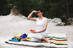 POKOJÍK / Ivica sitting on the wool blanket by Balkanova, wearing trousers by Conceptxy and Pavel Jevula white vest Wool Blanket, Carpets, Beach Mat, Blankets, Outdoor Blanket, Editorial, Traveling, Trousers, Vest