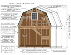 construction specifications on a 2-story gambrel barn from Pine Creek Structures