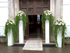 Best 45 amazing wedding entrance decoration for a perfect wedding party oosile.c Mariage Deco Wedding Arch Greenery, Wedding Pillars, Church Wedding Flowers, Altar Flowers, Church Flower Arrangements, Church Wedding Decorations, Wedding Entrance, Altar Decorations, Entrance Decor