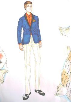 Diseño propio. Arte final. Inspiración: Japón-El pez Koi. Técnicas mixtas. Categoría: coctel masculino. También fue confeccionado by Elvi Ramos de Ruiz