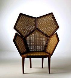 Geometric Cane Chair Lui by Fratelli Boffi. Cane Furniture, Funky Furniture, Furniture Design, Cheap Furniture, Custom Furniture, Wood Furniture, Bedroom Minimalist, Boffi, Interior Decorating