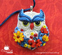 Blue Jean Owl pendant, Original polymer clay owls by ClayCatShop. - Made to order. $58.00, via Etsy.