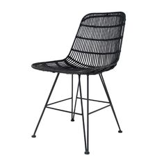 his Dining Chair features a solid black metal frame with a woven rattan chair. Available in White, Black & Natural rattan. Dining room chair or breakfast table chair?