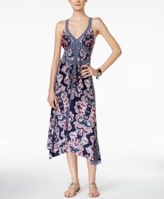 INC International Concepts Printed Handkerchief-Hem Maxi Dress, Only at Macy's | macys.com