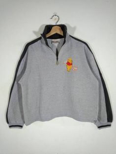 0a20fb31f21f4 Disney Winnie the Pooh by Brazos Sportswear Embroidery Logo Half Zip Gray  Vintage Sweatshirt
