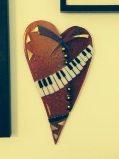 fused glass heart hanging