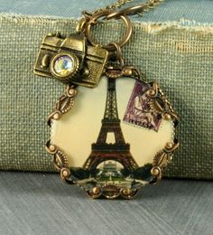 Eiffel Tower Necklace Eiffel Tower Pendant Paris Necklace Brass Filigree Necklace Camera Vintage Style Altered Art.