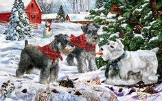 """""""Schnauzer - Snow Dogs""""      One of several Schnauzer Christmas cards available to order"""