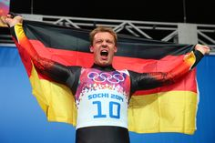 Gold medalist Felix Loch of Germany celebrates during the flower ceremony for the Men's Luge Singles (c) Getty Images Luge, World Of Sports, Olympic Games, The Man, Olympics, Athlete, Germany, Flower, Sport