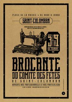 Affiche Kraft brocante du comité des fêtes - Le Moulin à Puces Le Moulin, Vintage Advertisements, Advertising, Graphic Design, Poster, Lab, Creativity, Wine, Deco