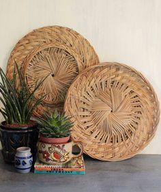 Wall Baskets Decor large wall basket - woven straw round basket tray - boho wall