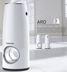 Aro Air Purifier by Giuk Choi - Aro features mood lights and aroma dispensing based on the moods of the people in the room. To achieve this, it incorporates voice recognition system that senses the mood and tone of the voice of the people. Web Design, Yanko Design, Layout Design, Promo Flyer, Presentation Board Design, Mood And Tone, Air Purifier, Industrial Design, Cool Designs