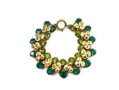 Czech Glass Link Bracelet Vintage Brass Bracelet by justvintage4u