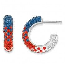Spirit Collection- Blue Orange and White Team Colors Sterling Silver Swarovski Elements Spirit Hoop Earrings