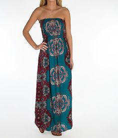Angie Patterned Tube Top Maxi Dress