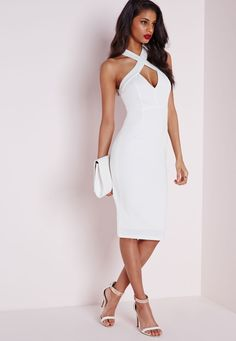 Missguided - Crepe Cross Front Midi Dress White
