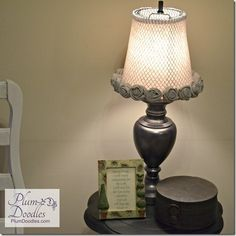 Make an inexpensive lamp shade from a trashcan!   PlumDoodles.com