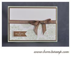 Stampin' UP! Hochzeitskarte mit Delicate Doilies und Fahnengruß