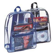 The Custom Branded InvisiBag Clear Backpack has a large zipper pocket, padded straps, and loop handle. It is available with either blue or black trim.