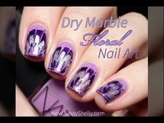 Floral Dry Marble | Drag Marble Nail Art Tutorial - YouTube