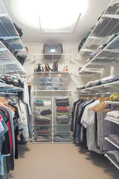 Organise your wardrobe with elfa® and you will be surprised at the room you have available. Available from Howards Storage World.