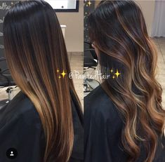 Hair Color Trends 2018 – Highlights : Dark hair w highlights - Lange Haare Ideen Brown Ombre Hair, Brown Hair Balayage, Ombre Hair Color, Hair Color Balayage, Balayage On Dark Hair, Carmel Ombre Hair, Dark Brunette Balayage Hair, Carmel Balayage, Light Brown Ombre