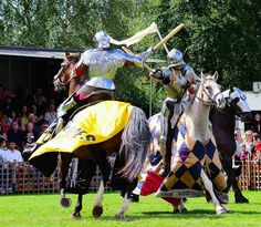 When one of the Royal Armouries team jousters at the Leeds Castle Grand Tournament 2014 was injured, Andy Deane was invited to take his place in the mounted melee. Here Andy(left) fights against Mark Caple(right). (photo by Richard Pearn)