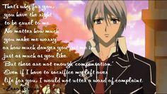 Anime Quotes About Life. Anime Quotes About Life, Sad Anime Quotes, Manga Quotes, Anime Life, Vampire Knight, Yuki And Kaname, One Piece Quotes, Cartoon Man, Manga Love