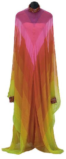 CHRISTIAN DIOR RAINBOW CHIFFON AND BEADED EVENING GOWN  FRENCH, LABELED 'CHRISTIAN DIOR PARIS PRINTEMPS-ÉTÉ 1967
