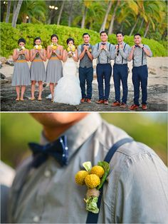Gray and navy groomsmen with yellow boutonnieres. Captured By: Stephen Ludwig ---> http://www.weddingchicks.com/2014/06/09/ohana-wedding-in-honolulu/