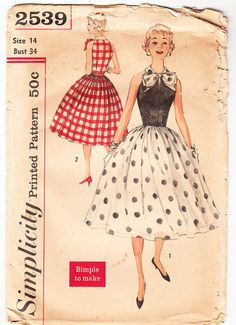 Vintage 1957 Simplicity 2539 Sewing Pattern Juniors, Misses One-Piece Dress with Detachable Bow Size 14 Bust 34