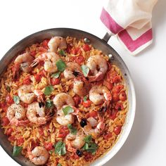 Cooking the ingredients in one pan allows the orzo to absorb all the wonderful flavors. Shrimp with tomatoes and orzo