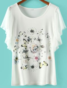 White Ruffle Sleeve Butterfly Flowers Print T-shirt US$18.02