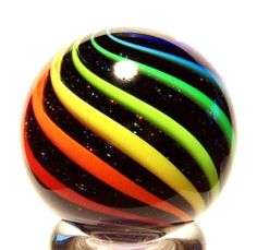 "Eddie Seese Glass 1 1 2"" Black Lutz Rainbow Dichroic Double Twist Marble | eBay"